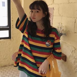 彩虹条纹短袖t恤女2020韩版宽松ins潮学生原宿bf泫雅风半袖上衣服