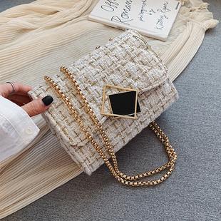 ins超火呢子包包女包新款潮2019流行韓版時尚百搭鏈條單肩斜挎包