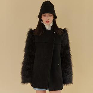 冬季韓國chic優雅復古寬松毛茸茸拼接保暖皮毛一體機車服短外套女