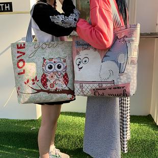 韩版ins学生帆布袋女文艺百搭单肩包小清新亚麻面料短途旅行大包