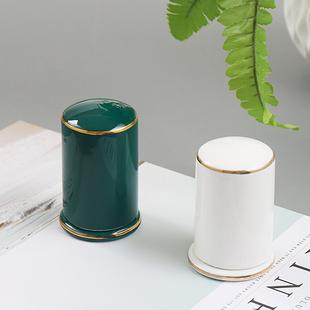 新中式轻奢祖母绿陶瓷牙签筒骨瓷牙签盒创意家用酒店高档定制签罐