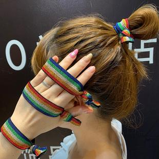 韩国东大门彩虹头绳女丸子头宽皮筋网红款简约百搭发圈扎头发皮套