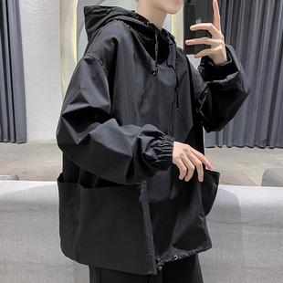 网红T恤秋季暗黑系男士卫衣纯色薄款韩版宽松上衣男连帽机能外套