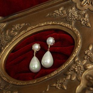 vintage费雯丽超大古董天然双珍珠耳环925银贝珠水滴耳坠耳夹手作