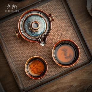 快客杯一壶两杯便携式车载旅行功夫茶具套装收纳包陶瓷泡茶杯小套
