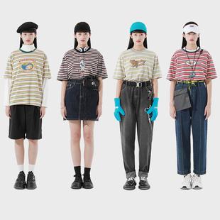 PROD独立设计 夏季潮牌复古条纹T恤女宽松原创印花韩版舒适棉半袖