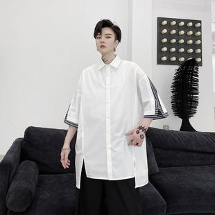 夏装ins个性条纹拼接开衩设计男士宽松短袖衬衫青少年潮流男衬衣