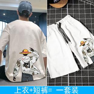 休闲服短袖短裤两件套装青少年T恤男士韩版潮流夏季学生宽松体恤