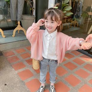 女童春装毛衣2020年新款韩版洋气儿童春秋季针织开衫休闲上衣潮