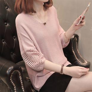 新款针织短袖女网衫镂空薄款学生2020春夏季t恤上衣宽松中袖外套