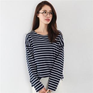 纯棉黑白条纹t恤女长袖2020年秋装新款韩版上衣宽松大码打底衫t桖