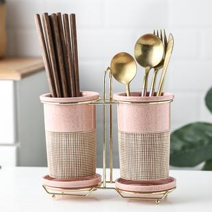 筷篓陶瓷筷子筒置物架沥水厨房放勺子的收纳盒桶平放筷子笼家用