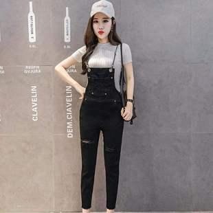 破洞牛仔背带裤女2020夏装新款韩版宽松小个子洋气减龄九分连体裤