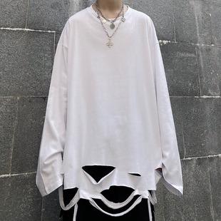 妈个鸡妈 韩国ins韩版高街暗黑秋冬破洞打底宽松纯色长袖T恤男女