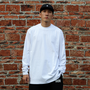 bboy宽松 纯色t恤重磅街舞嘻哈打底hiphop小领净色长袖poppin滑板