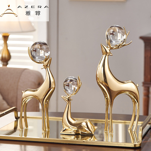 全铜鹿欧式样板房酒柜装饰品摆件美式客厅玄关电视柜乔迁新居礼品