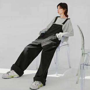 黑色工装背带裤女韩版宽松减龄高腰拖地长裤阔腿裤直筒牛仔裤春秋