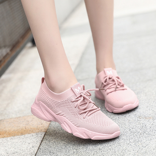 運動鞋女飛織網面春秋夏季透氣百搭休閑女士輕便軟底健身跑步鞋子