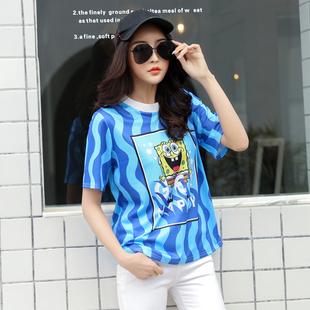 蓝色条纹短袖t恤女2020新款夏季韩版圆领修身海绵宝宝印花