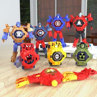 奥特曼赛罗投影手表变形玩具 机器人儿童 男孩变身手表钢铁蜘蛛侠