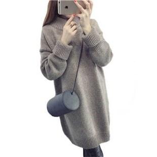 毛衣裙秋冬季新款宽松加厚粗针外套半高领套头毛衣女中长款毛线裙