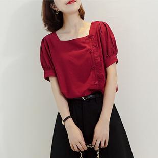 2020夏季韩版复古红色木耳边方领衬衫女短袖设计感洋气百搭上衣