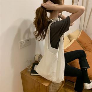包包2020新款ins清新单肩包手提购物袋文艺女学生布袋环保袋薄款