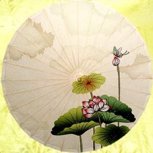 典雅荷花14 神樂太陽傘 復古油布雨傘 仿古小花傘 江南太陽傘