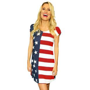 時穎歐美美國國旗星星條紋圓領短袖修身大碼迷你連衣裙220372