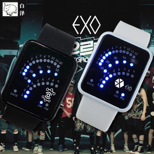 BAIZE EXO手表影視明星周邊LED電子表權志龍鹿晗吳亦凡男女款腕表