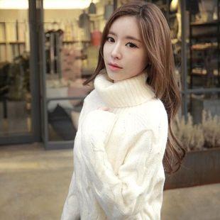 天天特价中长款白色高领套头毛衣韩版宽松冬款针织衫加厚外套女
