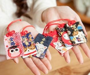 啵啵猫 日本御守日式护身符祈福袋招财学业平安财运包挂汽车吊饰