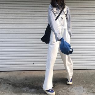 秋装韩版女装复古明线牛仔裤背带裤宽松显瘦连衣裤高腰阔腿裤长裤