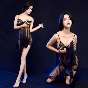 性感睡裙女春夏诱惑内衣大码情趣蕾丝透明薄纱吊带睡衣超短裙套装