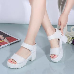 夏季防水台2020新款白色粗跟高跟凉鞋厚底魔术贴鱼嘴女鞋学生鞋
