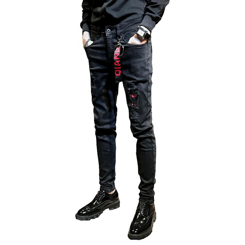 修身小脚裤个姓长裤子 2018 春季新款黑色破洞牛仔裤男韩版潮流