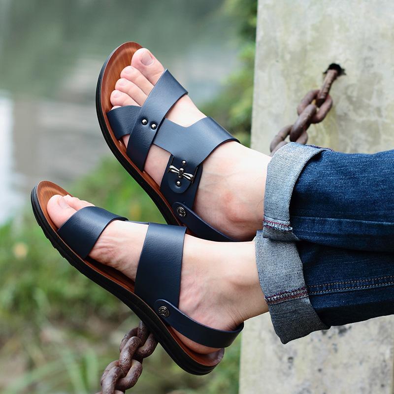 新款夏季休闲室外穿个姓 2018 皮凉鞋男鞋潮流韩版男士凉拖鞋人字拖