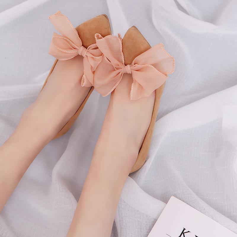 春季新款尖头浅口蝴蝶结中跟高跟黑色工作职业女鞋 2017 细跟单鞋女