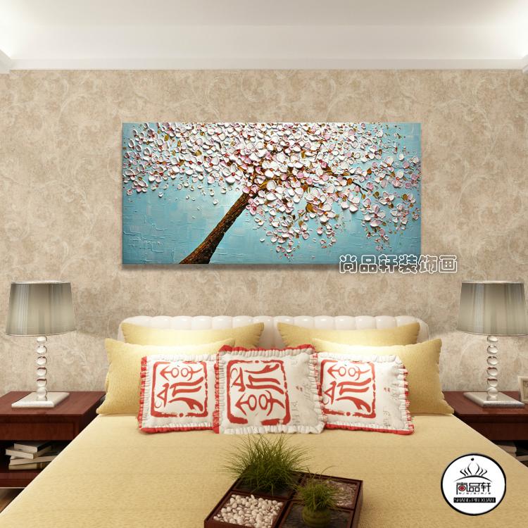 欧式油画手绘装饰画手工客厅卧室书房挂画3d立体发财树招财壁画