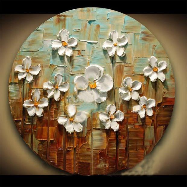 欧式油画手绘装饰画手工客厅卧室书房挂画3d立体三联画招财壁画