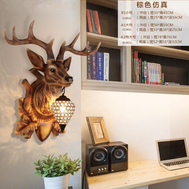 北欧创意装饰复古树脂鹿角马头动物壁灯卧室床头电视墙灯