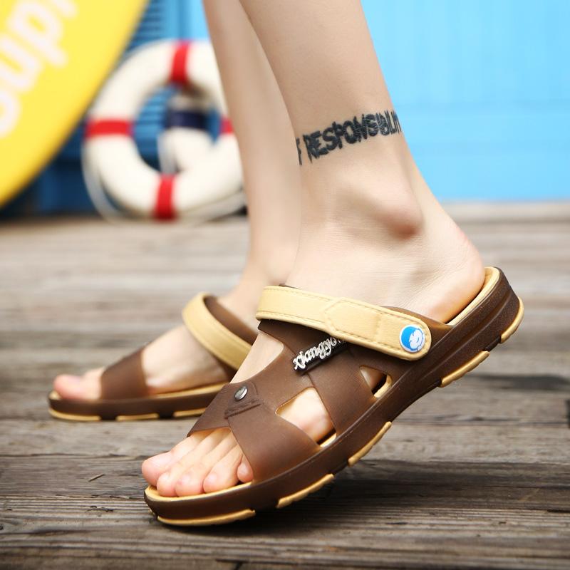 夏季男士凉鞋子韩版学生塑胶塑料透气男拖鞋式凉拖两用沙滩青少年