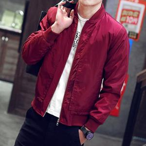2019 Spring Autumn Solid Slim Bomber Jacket Men Overcoat外套