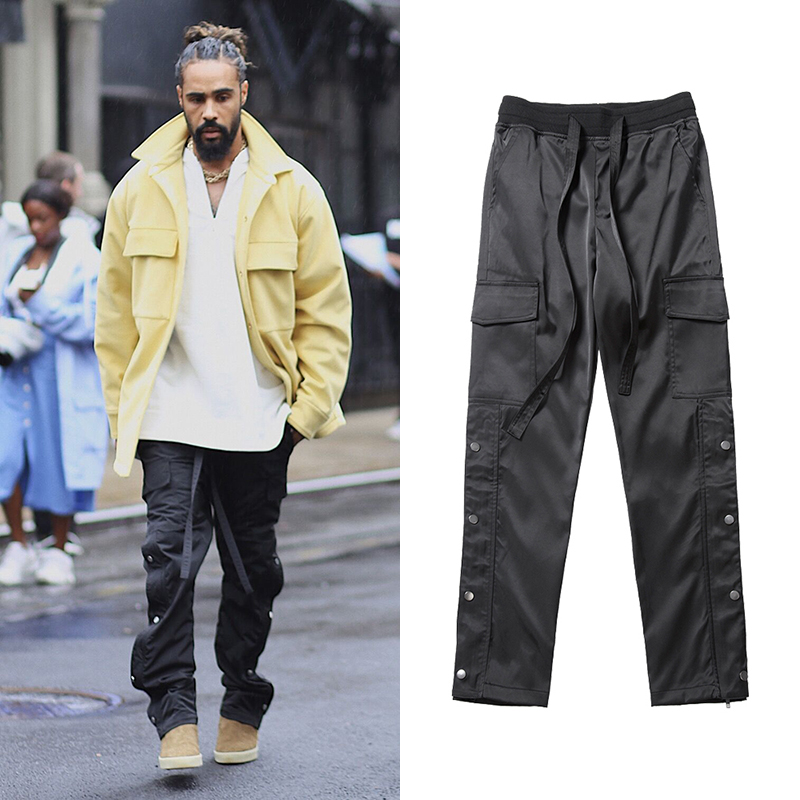 Black Nylon Snap Cargo Pants Mens Urban Streetwear Punk Hip