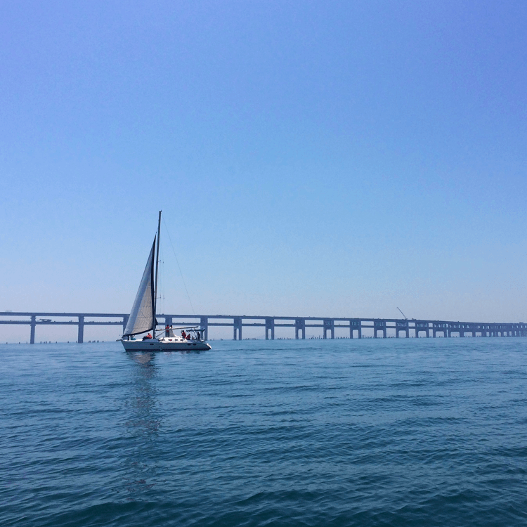 天气适宜,滨海旖旎风光