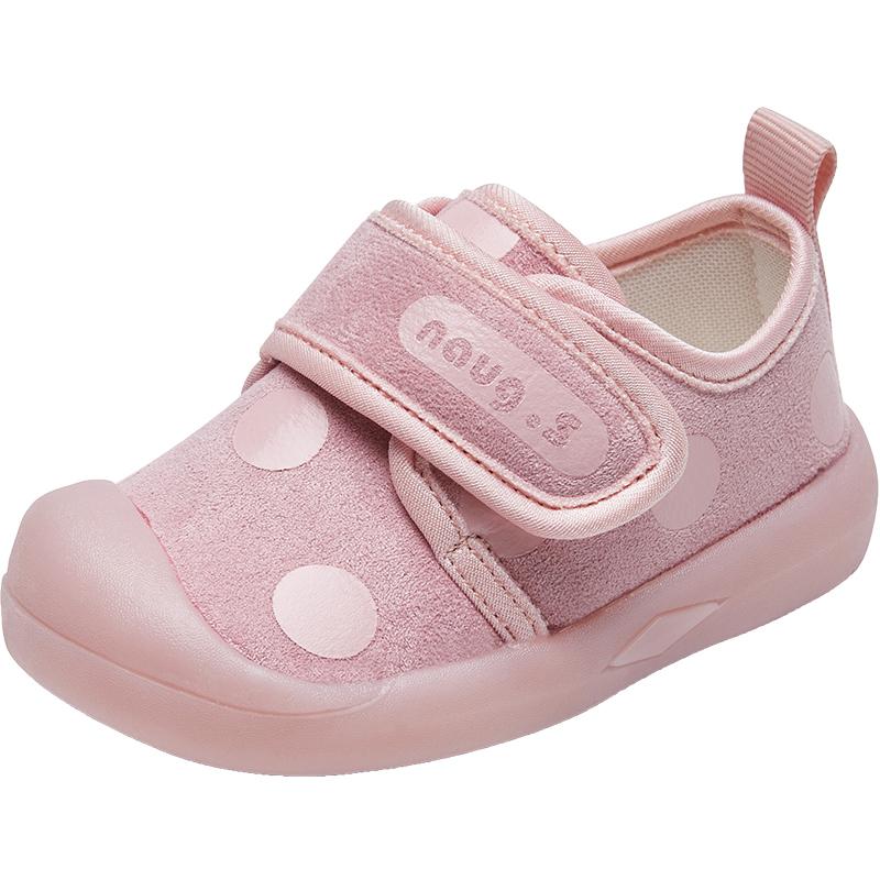 女宝宝学步鞋婴儿软底春秋季0一1-2岁幼儿小童防滑鞋子一岁不掉跟