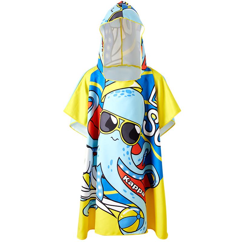 Kappa儿童浴袍男童女宝宝速干浴巾沙滩吸水毛巾温泉带帽游泳斗篷
