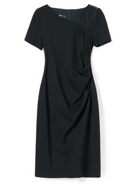 短袖2021新款通勤蕾丝黑色连衣裙