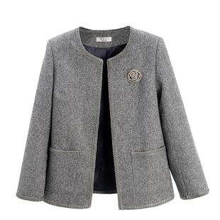 妈妈秋装套装时尚洋气减龄小香风两件套中老年女装春秋外套圆领薄