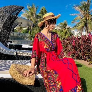 實拍泰國民族風沙灘裙女夏2019新款海邊度假顯瘦波西米亞長裙